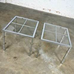Hollywood Regency Chrome And Glass Square End Tables Brass Details A Pair