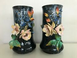 Haviland And Co. Limoges Barbotine A Large Pair Of Impressioniste Vases Very Rare