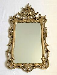 Vtg Gold Mid Century Syroco Ornate Wall Mirror W/original Label Frame37x19and039and039