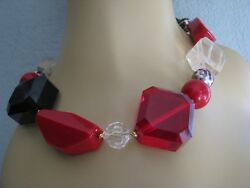 Betsey Johnson Vintage Chunky Lucite Beaded Statement Necklacerare