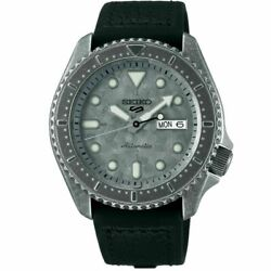 Seiko Srpe79 5 Sports Gray Aged Patina Automatic Menand039s Watch Leather/silicone