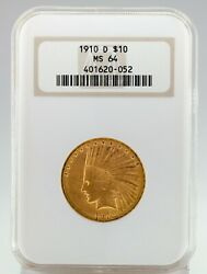 1910-d 10 Gold Indian Head Eagle Graded By Ngc As Ms-64