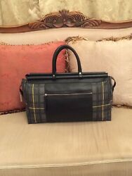 Bodhi Gray Coated Linen Plaid Leather Trim Weekender Duffle Overnight Bag