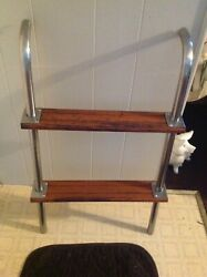 Boat Cockpit Boarding Ladder 2 Step Stainless And Wood With Mounts