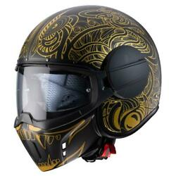 Caberg Ghost Maori Open Face Motorcycle Helmet Jet With Goggles Black Gold