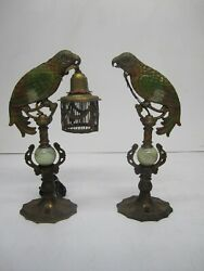 2 Antique C1920s Art Deco Cast Metal Parrot Table Lamp Bird Cage Shade As Is
