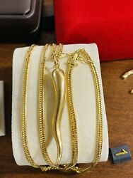 """Real K18 Japan Gold Solid Mens Women's Chili Pepper Necklace 22"""" Long 3mm 17.54g"""