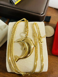 """Real K18 Japan Gold Solid Mens Women's Dolphin Set Necklace 22"""" Long 3mm 16.5g"""