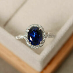 Oval 2.65 Ct Real Diamond Real Blue Sapphire Rings Solid 14k White Gold Size 7 8