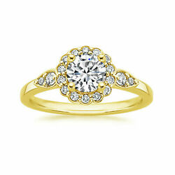 0.70 Ct Round Cut Real Diamond Christmas 14k Yellow Gold Ring Size 6 7 8 9