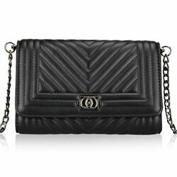Leather Quilted Crossbody Bags for Women Chain Strap Purse Handbag $35.29