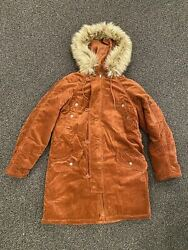 American Eagle Womenand039s Corduroy Parka Jacket Coat Faux Fur Lined Hoodie Size S M