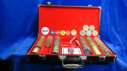 Binyon's World Series Of Poker Horseshoe Case Brass Chips Cards Dice Markers