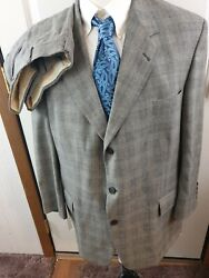 Pringle Of Scotland Houndstooth Plaid 2-pc Suit Size 48r Pants 42x27 Very Rare