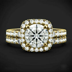 Solid 14k Yellow Gold 1.50 Ct Round Cut Diamond Engagement Ring Set Size 5 6 7 8