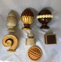 Lot Of Unique Shaped Hand Carved Individual Wood Finials Decor Various Finishes