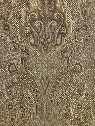 TAPESTRY UPHOLSTERY FABRIC REMNANT 26quot; X 82quot; DAMASK PAISLEY GOLD NRN