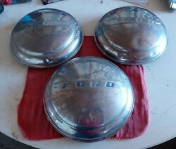 1940and039s Ford Dog Dish Hubcap 8and039 Blue Script 9-3/4 Diameter Truck Car Moon Oem