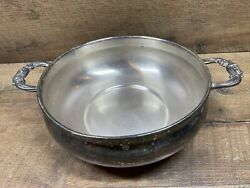 """English Silver Mfg Corp Leonard Silver Plate Bowl Handles Footed Made In Usa 9"""""""