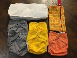 5 Diaper Rite One Size Pocket Cloth Diapers With Inserts And Bummis Wetbag
