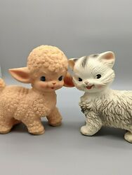 1950s Sun Rubber Pink Lamb And Edward Mobley White Cat Squeaker Toy