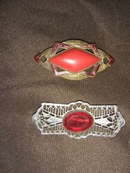 Beautiful Antique Vintage Pins Art Deco Jewelry Lot Lots Of Red