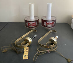 Vintage Budweiser Beer Set Of 2 Sconce Wall Hurricane Lamp Shades Bow Tie Logo
