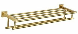 Hotel Towel Shelf With Towel Bars, Sus304 Stainless Steel Brushed Gold