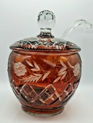 Vintage Crystal Cut Punch Bowl Handcrafted With Glass Blown Ladle Amber Color