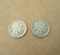 Lot 2 Usa Indian Buffalo Nickel 5 Cent Coins Currency 1935 Us Currency