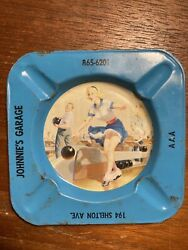 Vintage Retro Pinup Girl Ashtray Pin Up Nude Risqué Metal Johnnie's Garage Aaa
