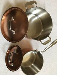 Terrific All Clad Heavy Duty Copper And Stainless Steel 4 Pc Sauce Pan Set