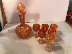 Vintage Imperial Octagon Marigold Carnival Glass Decanter And 6 Goblets Lqqk