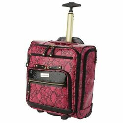 Samantha Brown Embossed Rolling Carry-it-all Bag Snake Print Fuchsia Black Nwt