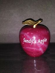 Vintage Red Marble Apple Brass Leaf Personalized Paperweight Sandyand039s Apple