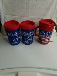 Lambert's Cafe Insulated Travel Mug Cup 32 Oz Red And Blue Thermo-serv Andaladdin