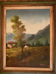 Original Oil Painting Landscape - Farmhouse And Mountains Memti-mid 20th Century