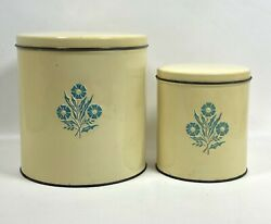 2 Rare Vintage 1950's Tuttle Corp Corning Ware Blue Cornflower Tin Canisters