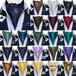 Mens Silk Ascot Cravat Vintage Scarf Blue Red White Gold Paisley Solid Geometric