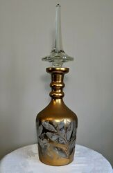 Over 25 Tall Gold Etched Bohemian Glass Decanter Bottle