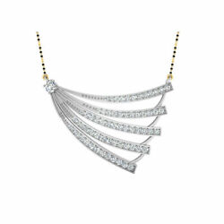 14k White Gold Pendant 1.53 Ct Real Diamond Solid Womenand039s Wedding Mangalsutra