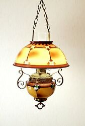 1970's Vintage B. And H. Brown Gwtw Hurricane Oil Swag Lamp Glass Brass Swirls