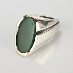 Heavy Signed Wesley Emmons Modernist Sterling Silver And Malachite Signet Ring Vr