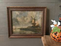 Vintage Framed Autumn Windmill Country Water Scene Village Wall Art - Free Ship