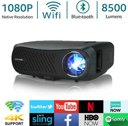 8500lms Native 1080p Android Projector 4k Video Led Zoom Blue-tooth Home Movie