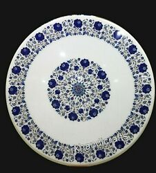 Marble Dining Table Top Inlay Meeting Table With Lapis Lazuli Stone Art 36 Inch