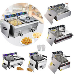 Commercial Electric Deep Fryer Frying Countertop Basket Chip Cooker W/ Timer