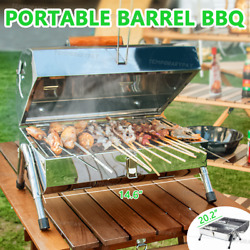 Portable Stainless Steel Barrel Charcoal Wood Barbecue Outdoor Camping Grill Bbq
