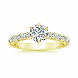 1.04carat Coupe Ronde Moissanite Bague Mariage 14k Poinandccedilonnandeacutee Solid Or Jaune 5 6
