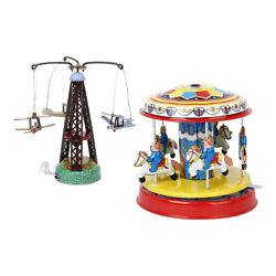 2 Pack Carousel Wind-up Turned Airplane Tin Toys For Toys